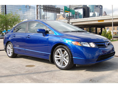 honda civic 2007 blue sedan si gasoline 4 cylinders front wheel drive 6 speed manual 77002