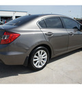honda civic 2012 dk  gray sedan ex w navi gasoline 4 cylinders front wheel drive automatic 77034