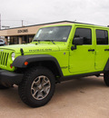 jeep wrangler unlimited 2013 green suv rubicon gasoline 6 cylinders 4 wheel drive automatic 76011
