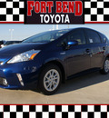 toyota prius v 2012 blue wagon three hybrid 4 cylinders front wheel drive automatic 77469