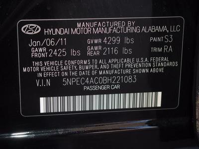 hyundai sonata 2011 black sedan limited pzev gasoline 4 cylinders front wheel drive automatic 75150