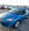 ford focus 2014 blue sedan titanium flex fuel 4 cylinders front wheel drive automatic with overdrive 60546