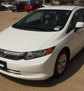 honda civic 2012 white sedan lx gasoline 4 cylinders front wheel drive automatic 77065