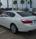 honda accord 2014 white sedan gasoline 6 cylinders front wheel drive 6 speed automatic 77566